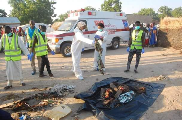 Graphic photos: 16 persons killed, 18 others injured in multiple suicide bomb attacks in Maiduguri