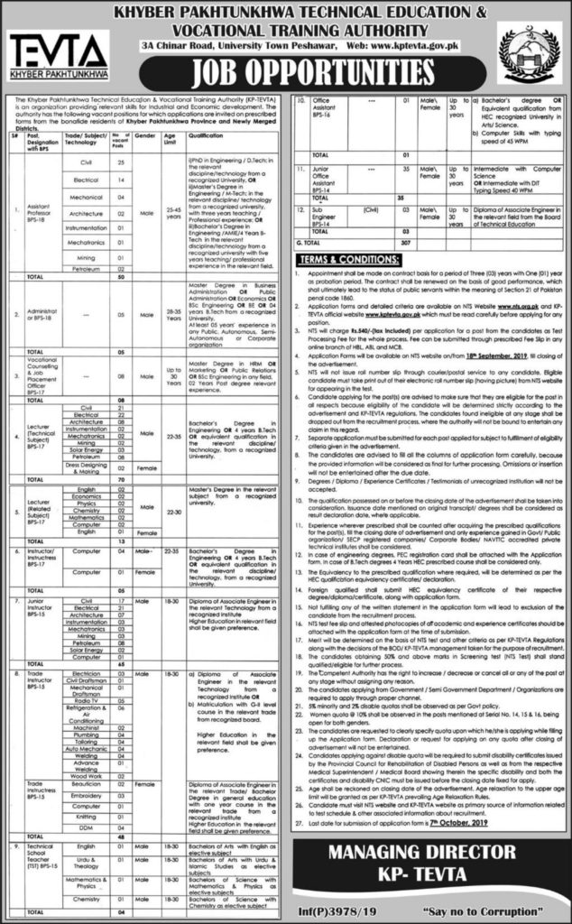 Advertisement KPTEVTA Jobs 19 September 2019 Apply Online Latest