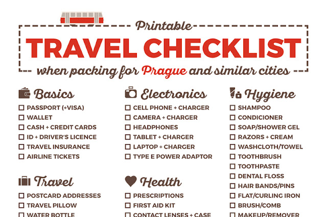 Printable Packing Checklist Prague City Apartments Blog - Travel Checklist