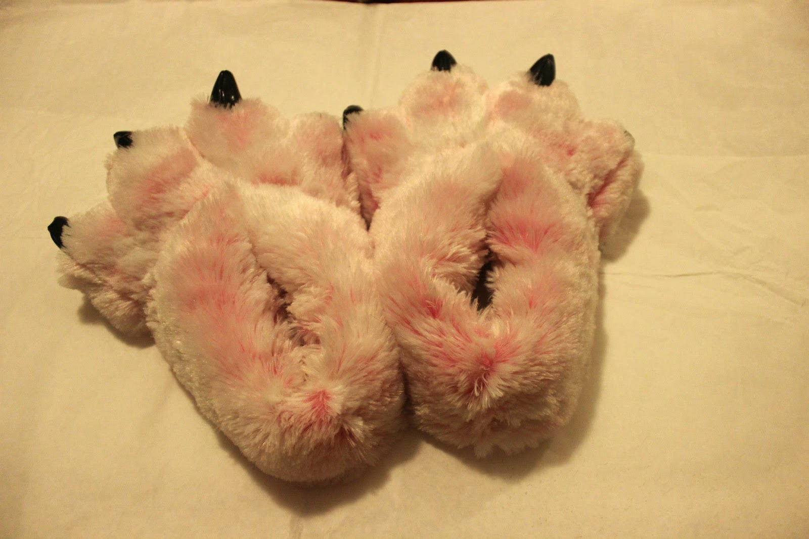 Pink Bear Claw Slippers