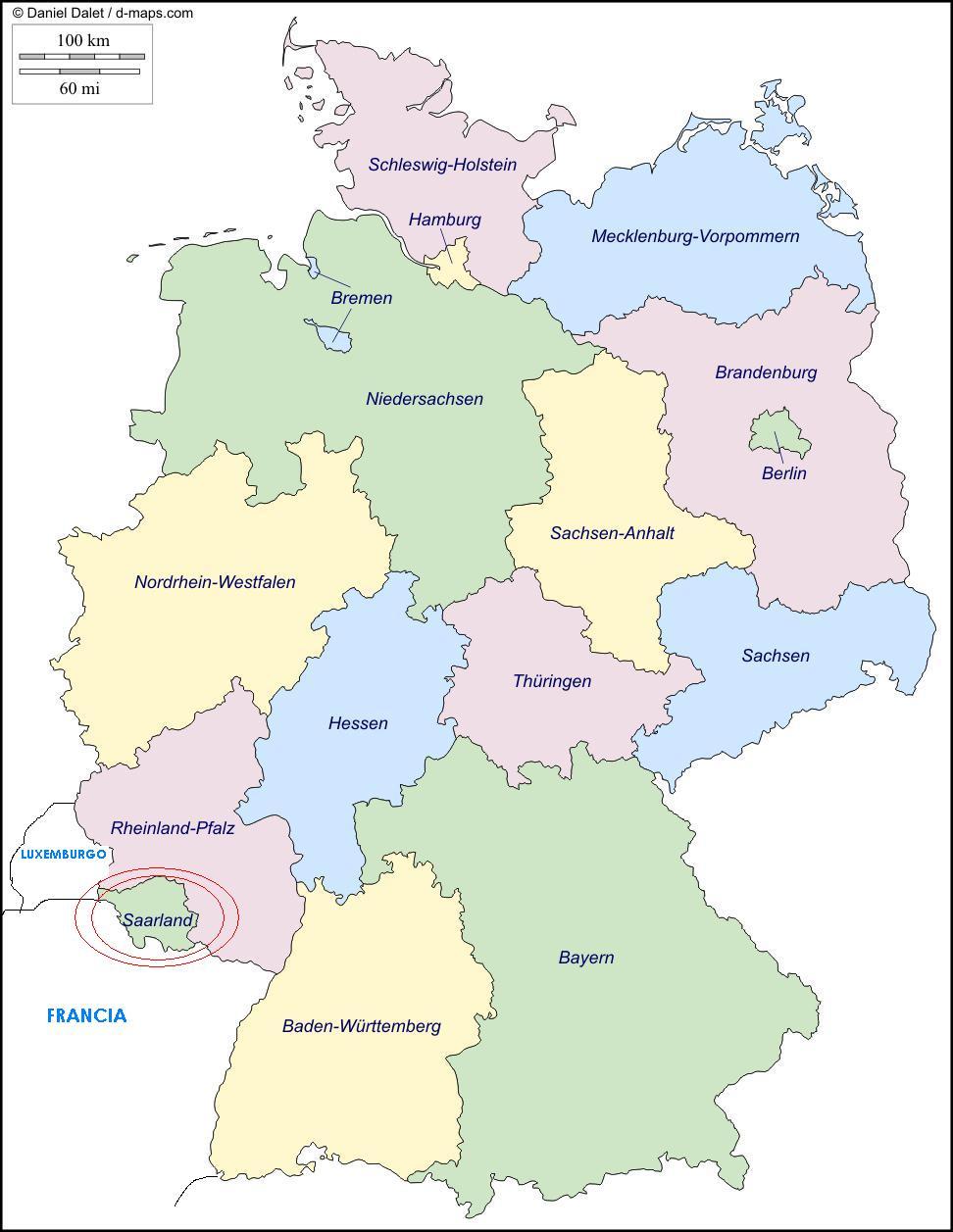 Alemania Estados Federados Mapa