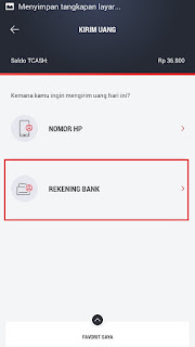 cara transfer tcash ke bank bri
