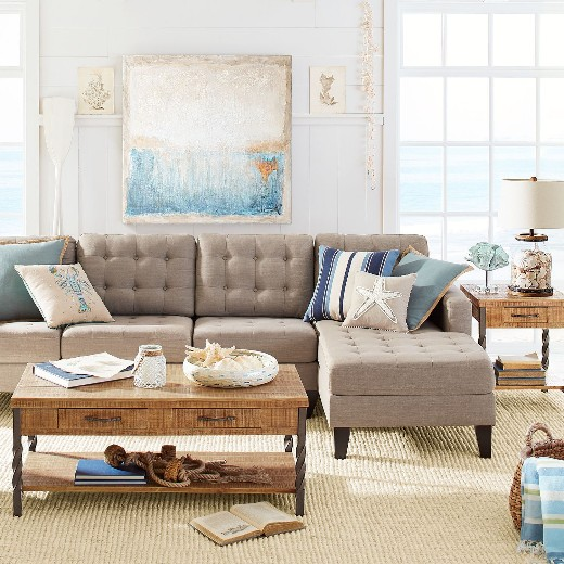 Neutral Taupe Sofa Coastal Living Room Design Ideas