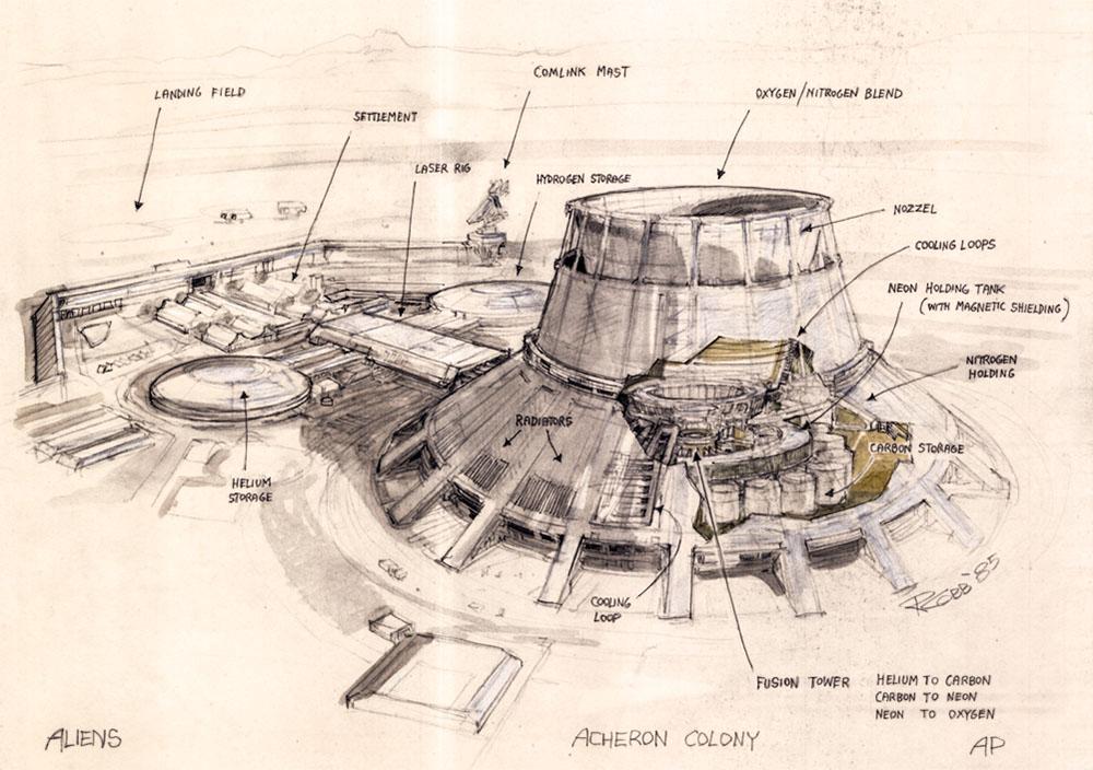the secret space base ron cobb aliens lv 426 colony art. Black Bedroom Furniture Sets. Home Design Ideas