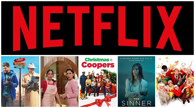 Netflix logo, jack whitehall travels with my father, the princess switch, christmas with the coopers, the sinner, nativity