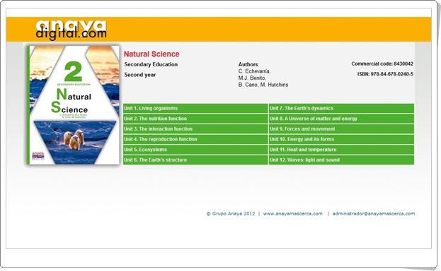 """Anaya Digital: """"Natural Science de 2º de E.S.O."""""""