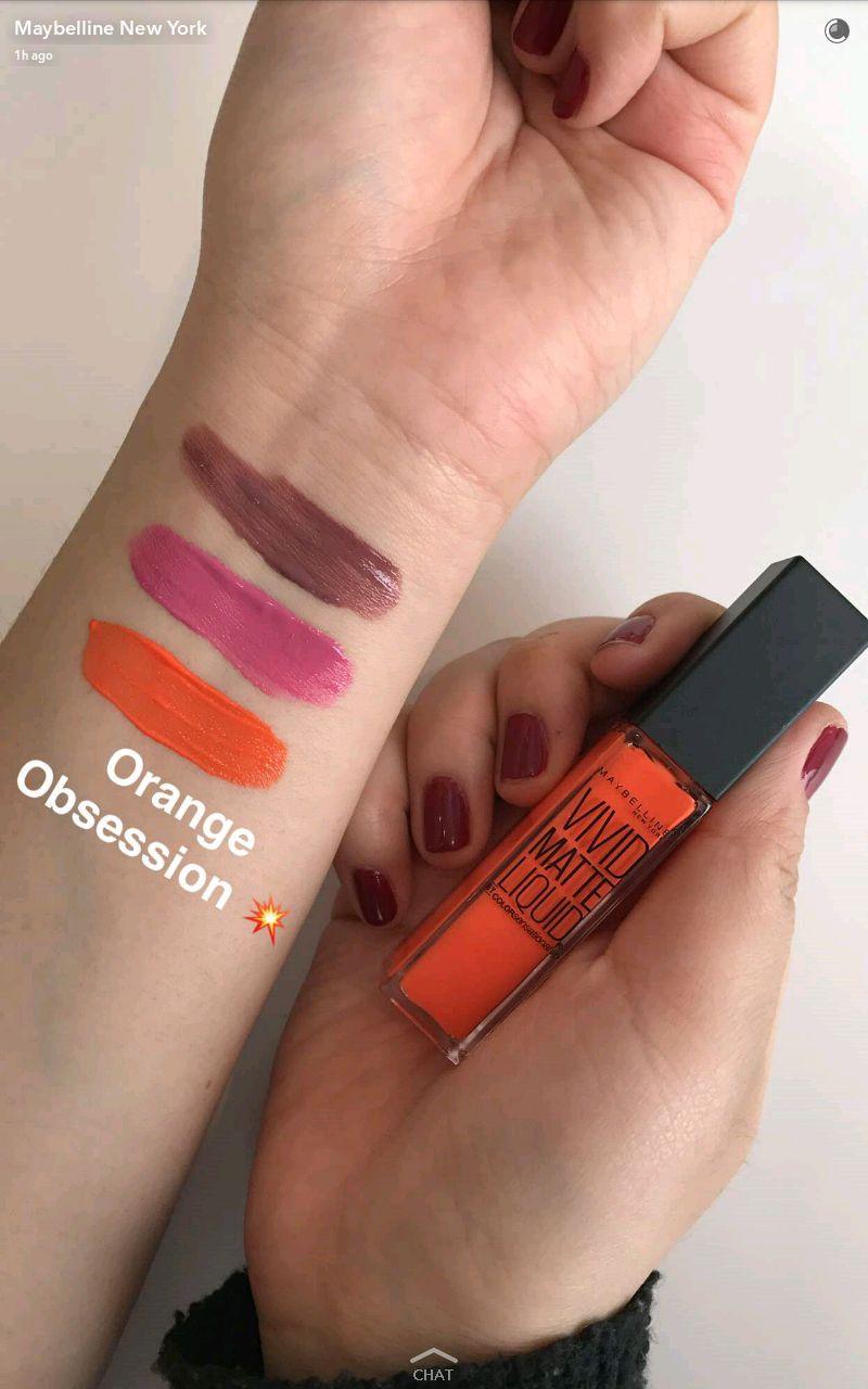 maybelline new vivid matte liquid lipstick swatches 4 orange obsession