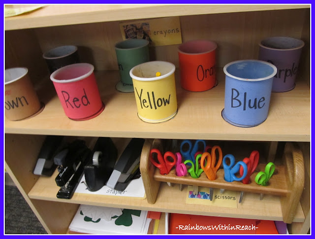 photo of: DIY Crayon buckets by color using recycled 'icing' containers