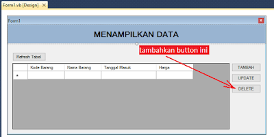 3 - Tutorial Vb.Net - Cara Menciptakan Tombol Delete Database Mysql Memakai Connector Odbc