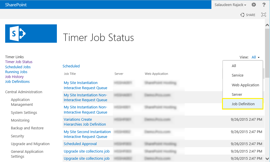 sharepoint timer job history powershell