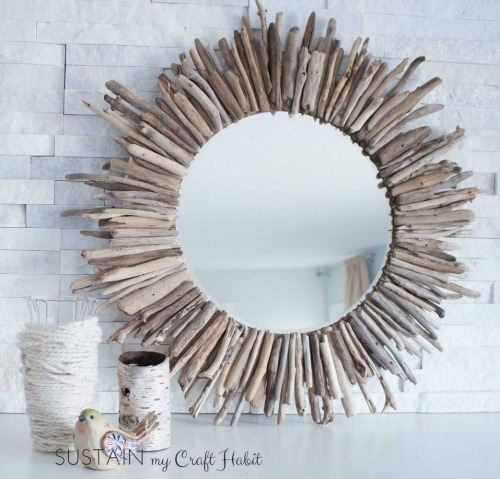 DIY Sunburst Driftwood Mirror