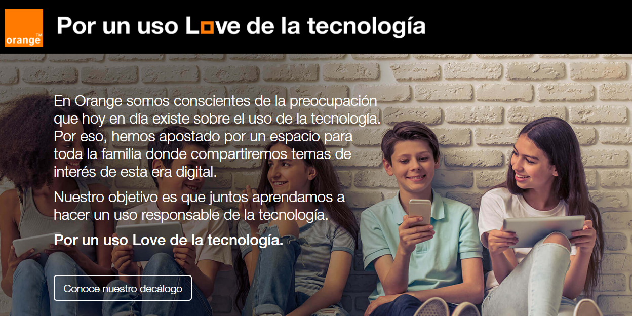 Uso love de la tecnología orange