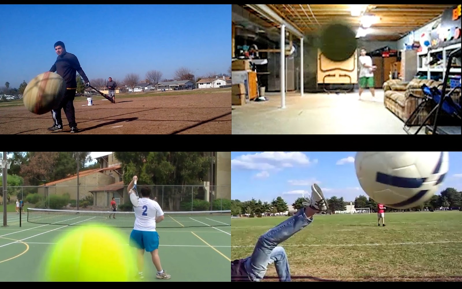 4 images of people playing sport, in each image a ball is about to hit the camera