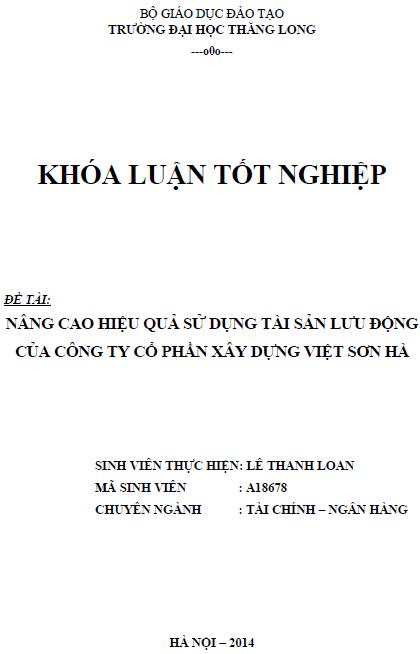 Nâng cao hiệu quả sử dụng tài sản lưu động của Công ty Cổ phần Xây dựng Việt Sơn Hà