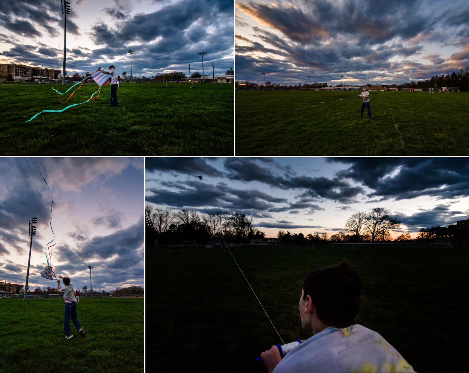 Flying kite at sunset in Northern Virginia park © Diana Sherblom Photography