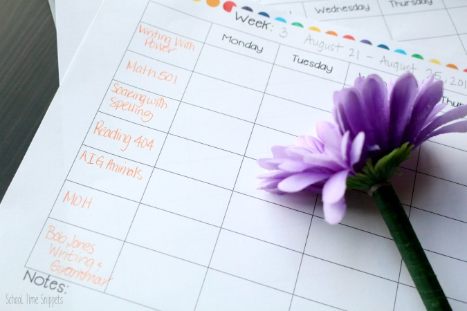 weekly homeschool planning printable free