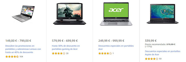 Ofertas Destacadas de Amazon en portátiles Lenovo y Acer