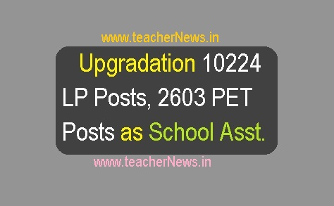 Upgradation 10224 LP Posts, 2603 PET Posts as School Assts fill by Promotions as per GO 91