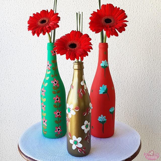 Garrafas reutilizadas na decoração