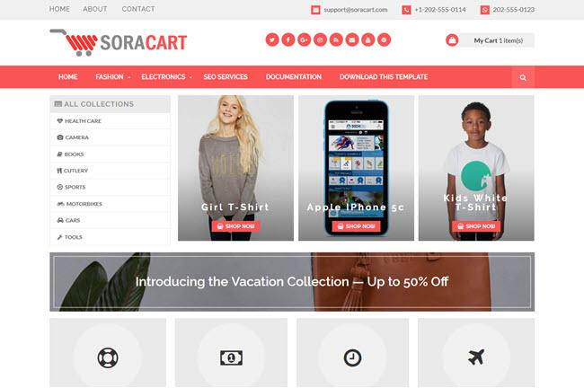 Sora Cart - Responsive Shop Blogger Template