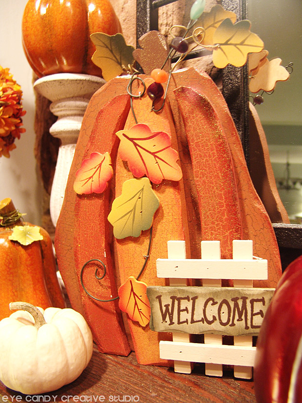 white pumpkin, pumpkin welcome sign, decorating for fall, mantel decor