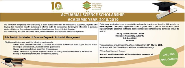 IRA Actuarial Science Graduate  Scholarships 2018/2019