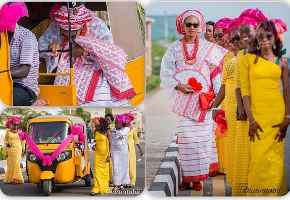 Photos: Nigerian Bride Arrives Traditional Marriage In Keke As Official Wedding Car