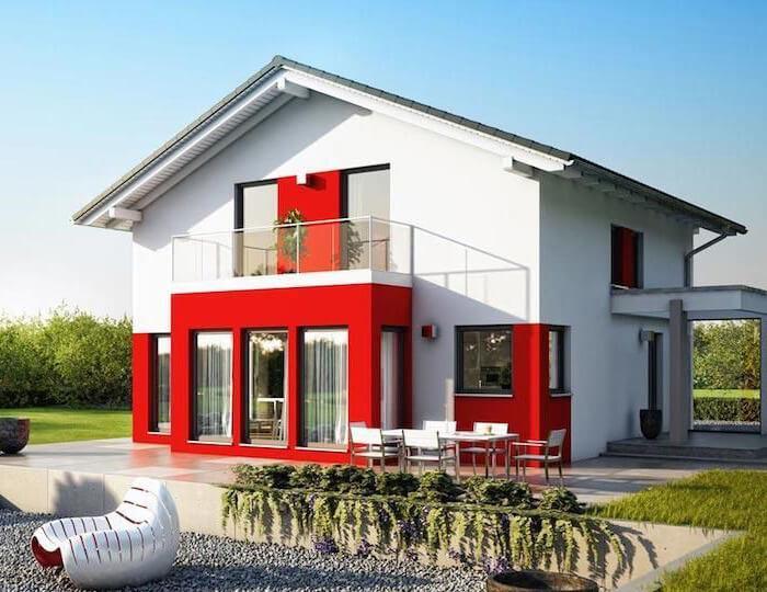Casa prefabbricata con materiali ecosostenibili in stile classico e moderno