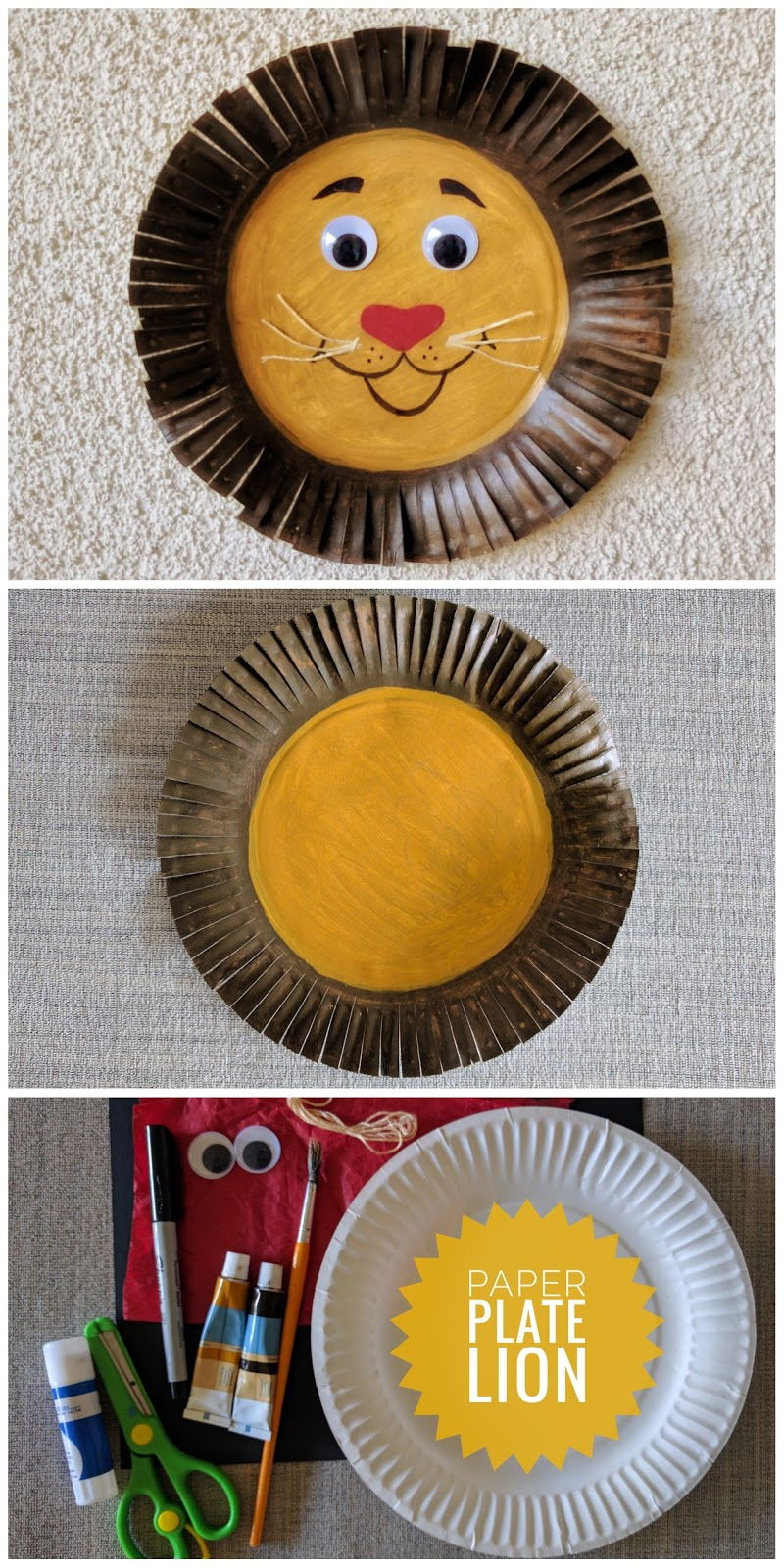 Paper plate, Lion, Kid's craft, craft for kids, Lion craft, easy craft, zootopia, mayor lionheart, crafty mom, crafty kid