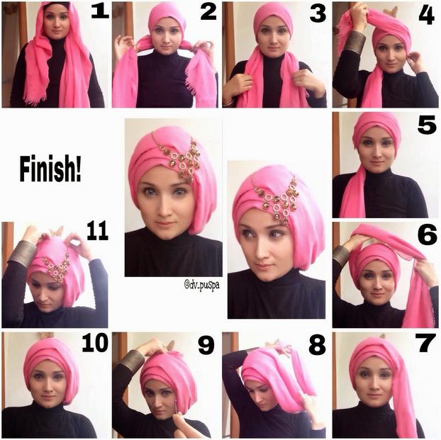 tutorial hijab pashmina satin untuk pesta