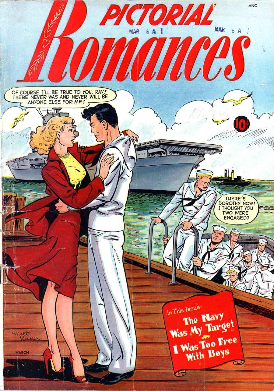 Pictorial Romances #6 st. john golden age 1950s romance comic book cover art by Matt Baker