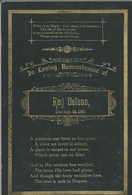 Memorial Card of Roy Delano, Who Died September 25, 1889; possibly a Maine Connection
