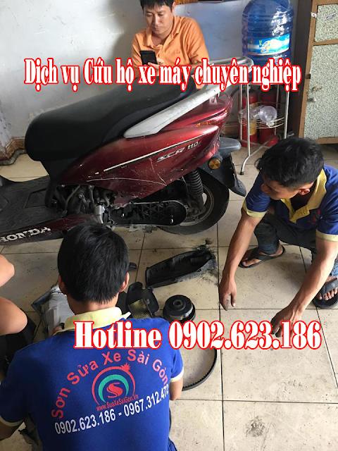 Cứu hộ sửa chữa xe Honda SCR tận nơi tại TpHCM