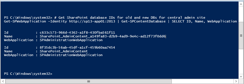 rename sharepoint central administration database