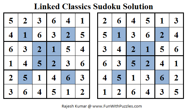 Linked Classics Sudoku (Mini Sudoku Series #16) Solution
