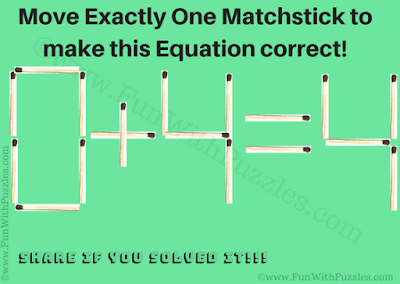 It is Matchsticks Brain Teaser for Kids in which one has to move exactly one matchstick to make the given mathematical equation correct