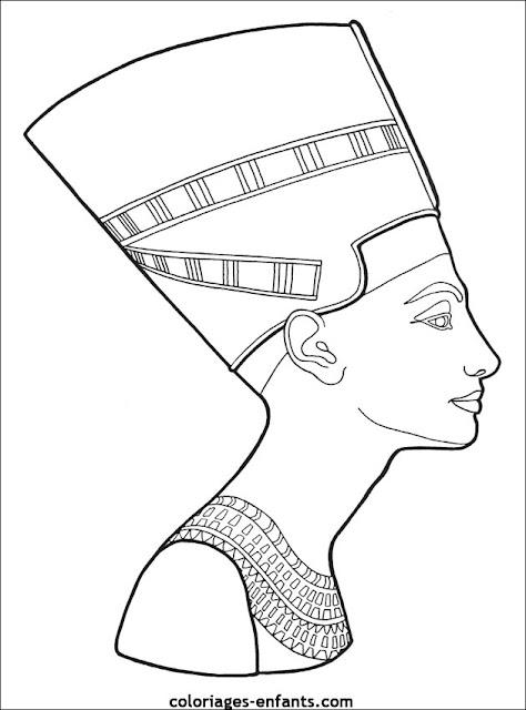 Egipto Nefertiti para colorear