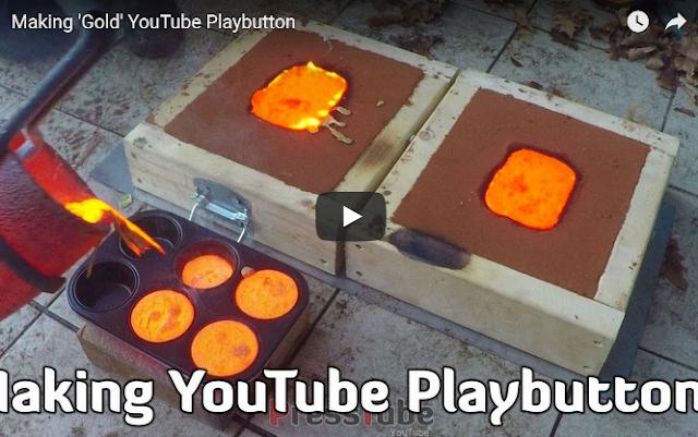 بالفيديو..... عامل محترف يقوم بصناعة درع اليوتيوب الذهبى!
