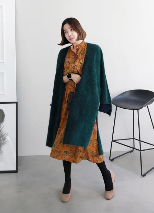 Floral Print Elastic Midi Dress