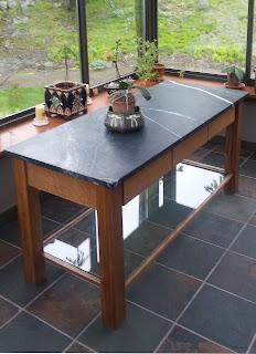 Custom white oak and soapstone table with glass shelf