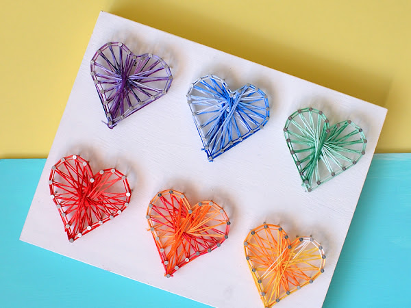 Colorful Valentine Day Heart String Art Tutorial