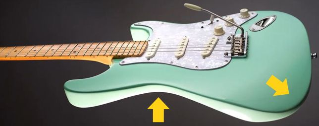 Rebajes en la Madera de una Guitarra Stratocaster para Mayor Comodidad