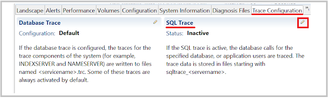SAP HANA Enable SQL trace
