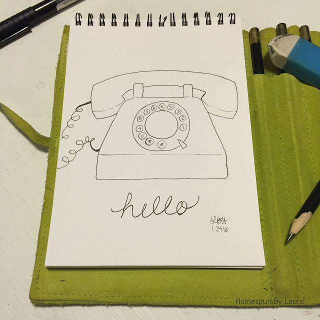 homespun by laura daily doodle pen drawing antique vintage rotary phone