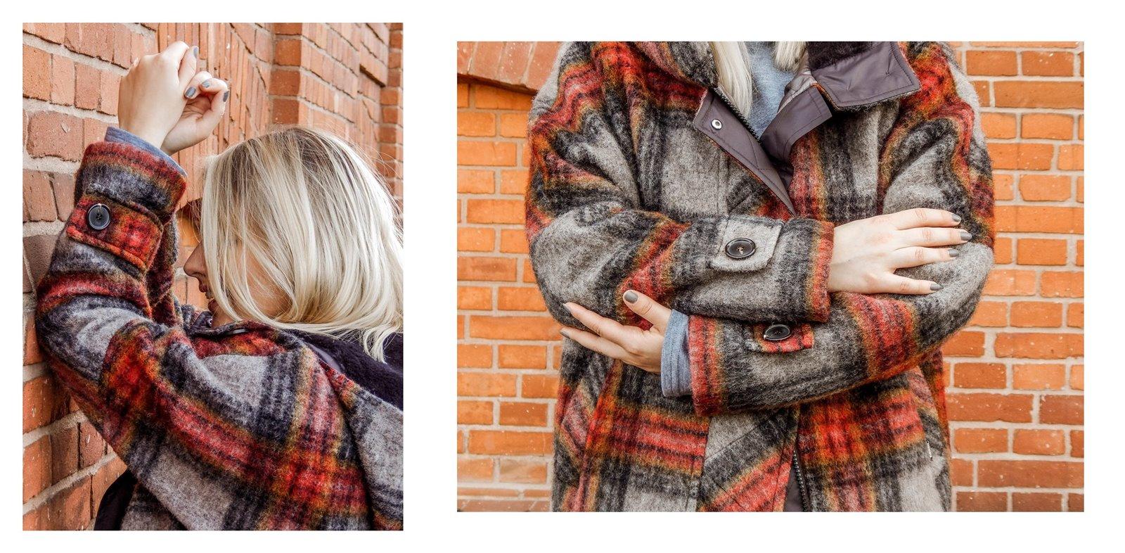 9a płaszcz - ubranie, moda polska, hot moda, moda damska jesień 2018, moda for you, net moda, blog, blogerki fashion łódź anataka kurtka w kratkę ciepła kurtka stylizacje w co się ubrać eleganckie kurtki blondynka