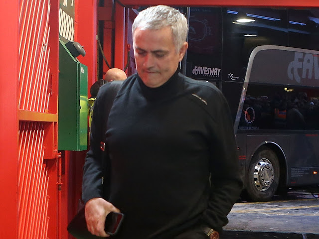 Jose Mourinho pictured in the Old Trafford tunnel before the derby defeat
