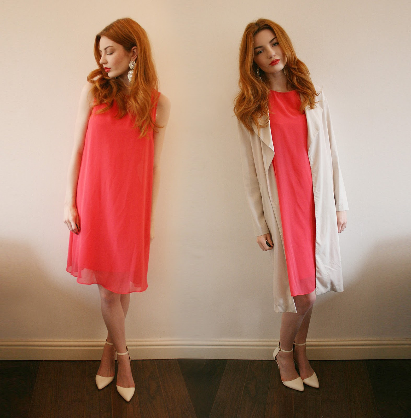 Outfit Of The Day Coral Dress With Wallisdressedit Hannah