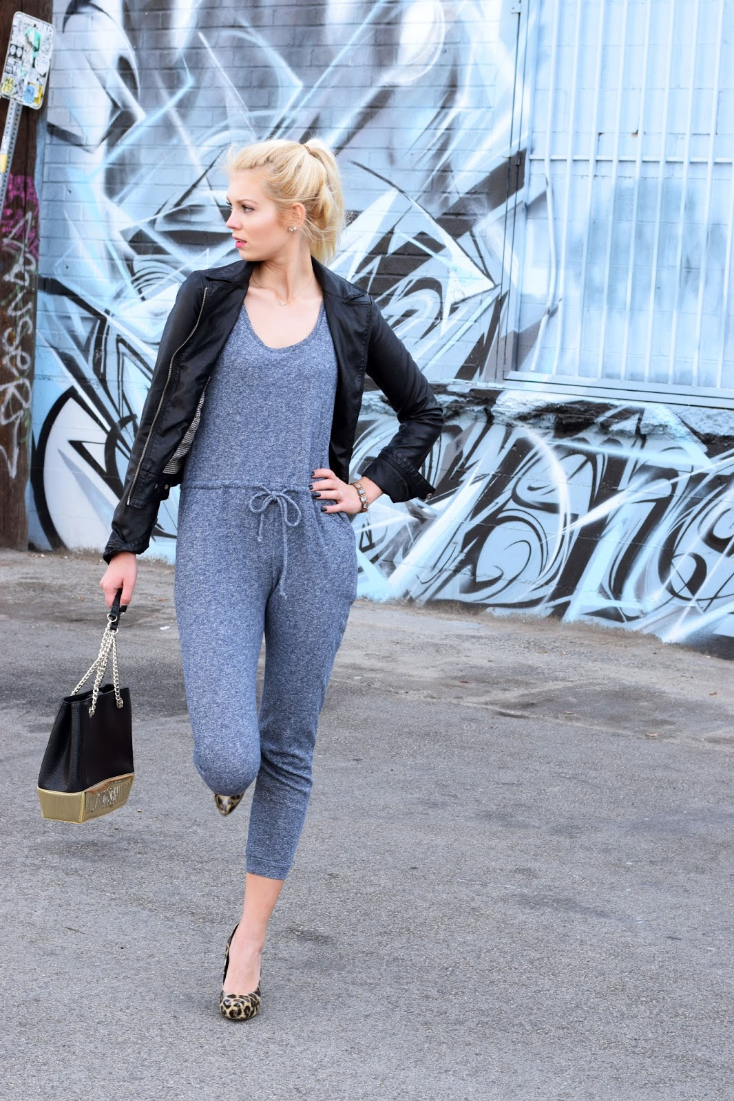 shop tobi, jumpsuit, moschino, purse, leather jacket, arts district, los angeles, graffiti