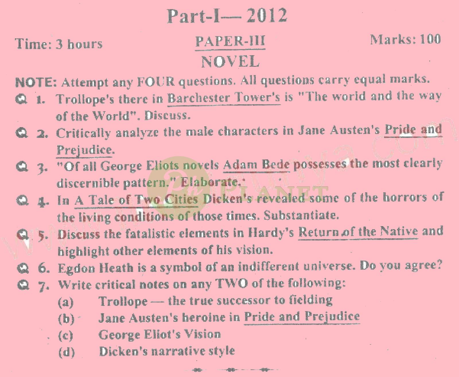 ma english part 1 past papers punjab university 2012 novel