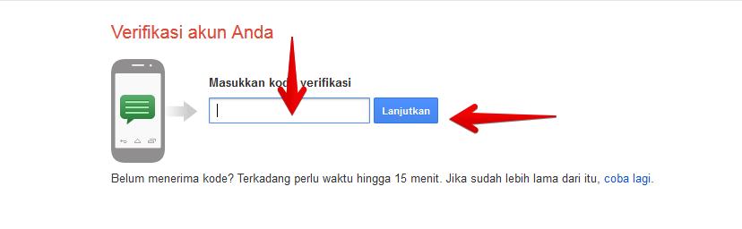Verifikasi akun gmail dengan nomor Hp
